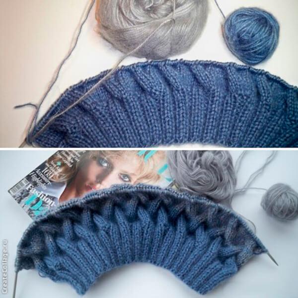Модная шапка с косами, связанная градиентом 23