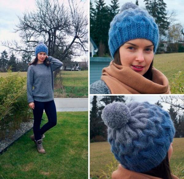 Модная шапка с косами, связанная градиентом 31