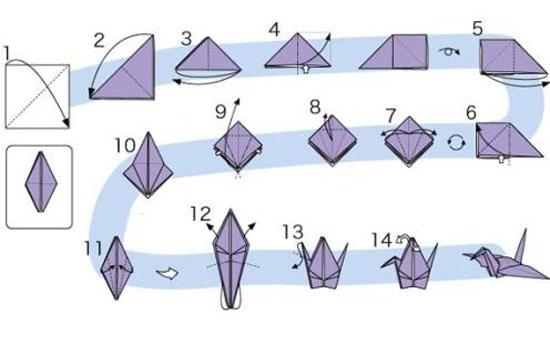 Как сделать журавлика оригами из бумаги своими руками origami zhuravlik iz bumagi 20