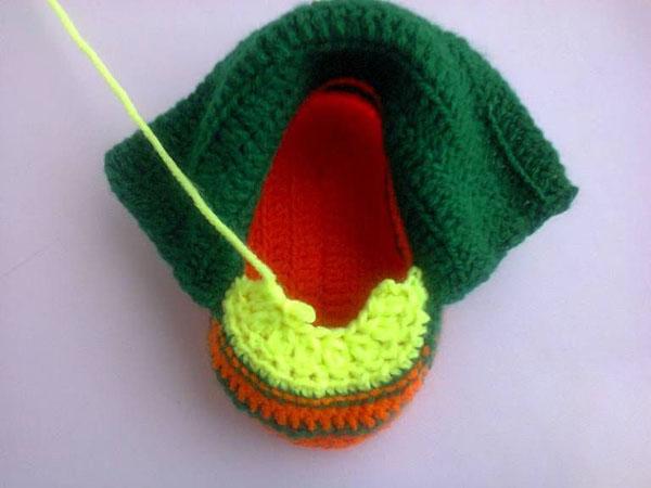 Пинетки Ботиночки крючком для малыша ботиночки крючком 12