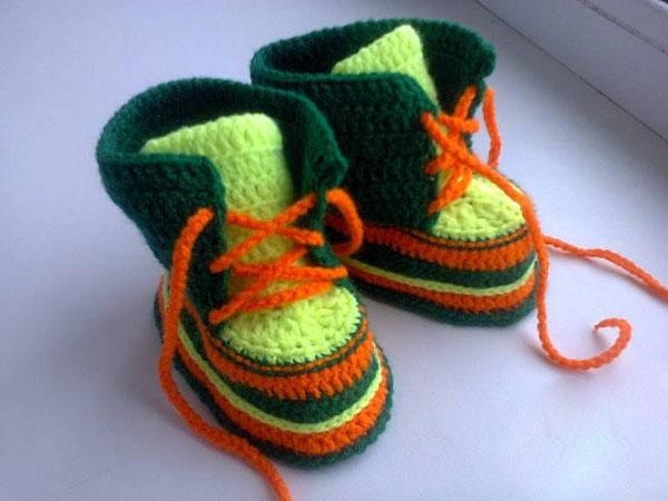 Пинетки Ботиночки крючком для малыша ботиночки крючком 15