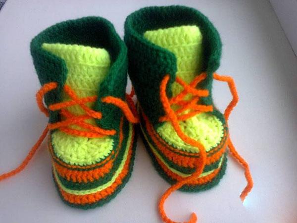 Пинетки Ботиночки крючком для малыша ботиночки крючком 16