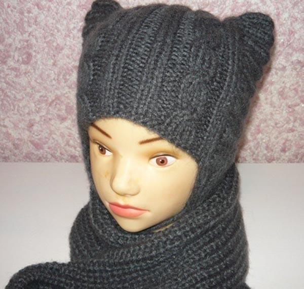 Оригинальная шапка Котошапка для маленьких модниц спицами детская котошапка спицами 1