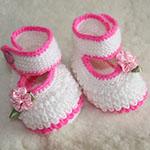 Изящные пинетки Туфельки спицами для девочки
