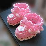 Ажурные пинетки для новорожденного крючком