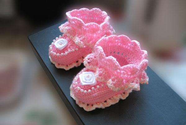 Ажурные пинетки для новорожденного крючком azhurnye pinetki kryuchkom 1