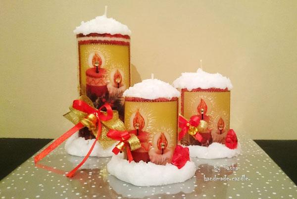 Декор свечей на Новый год: создаем праздничное настроение в доме novogodnie svechi v texnike dekupazh 11