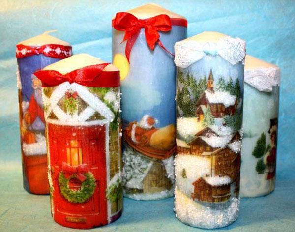 Декор свечей на Новый год: создаем праздничное настроение в доме novogodnie svechi v texnike dekupazh 2