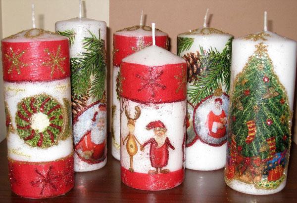 Декор свечей на Новый год: создаем праздничное настроение в доме novogodnie svechi v texnike dekupazh 4