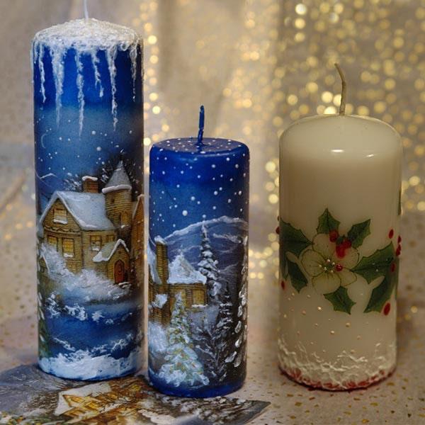 Декор свечей на Новый год: создаем праздничное настроение в доме novogodnie svechi v texnike dekupazh 5