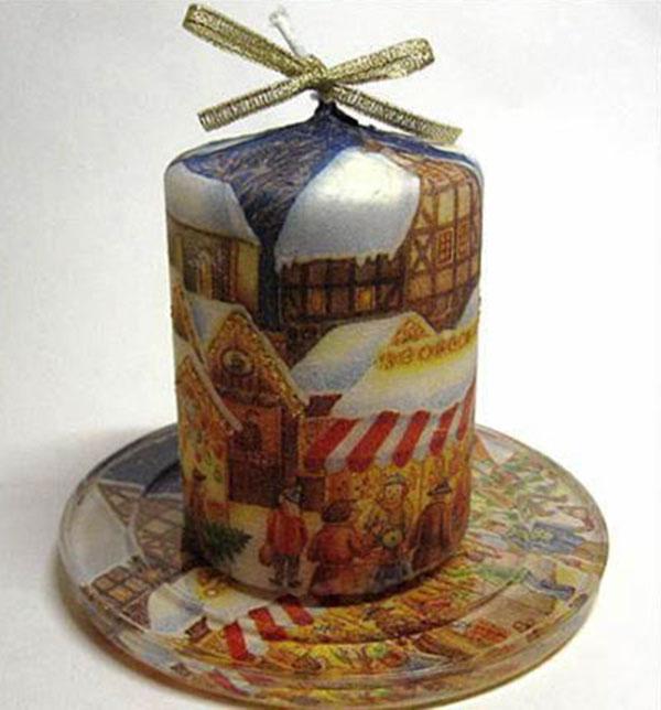 Декор свечей на Новый год: создаем праздничное настроение в доме novogodnie svechi v texnike dekupazh 7