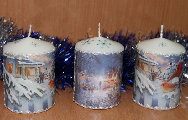 Декор свечей на Новый год: создаем праздничное настроение в доме novogodnie svechi v texnike dekupazh 8