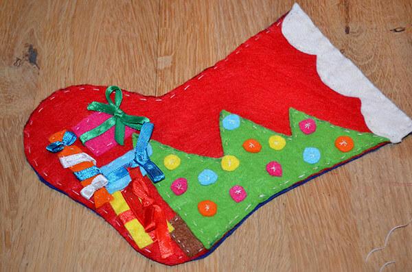Рождественский сапожок из фетра своими руками sapozhok 15