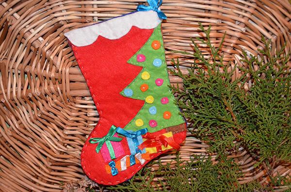 Рождественский сапожок из фетра своими руками sapozhok 17