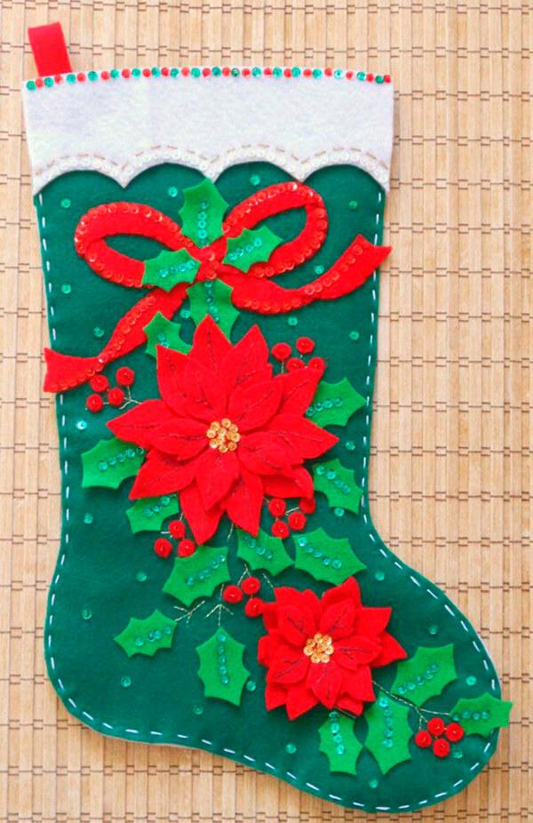 Новогодний сапожок из фетра с выкройками