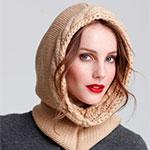 Шапка-капюшон спицами для женщин с описанием