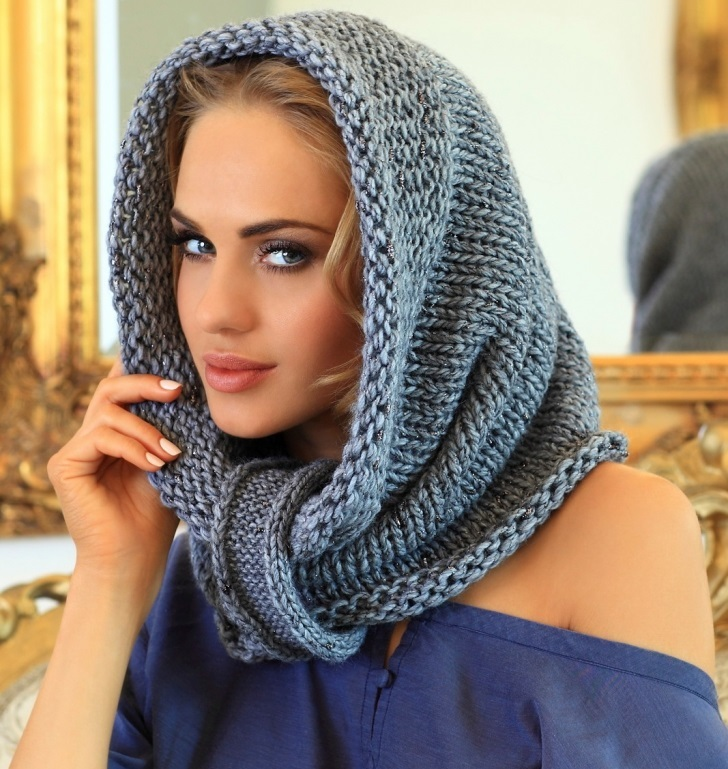 Шарф хомут спицами: вяжем модный асессуар sharf homut 1