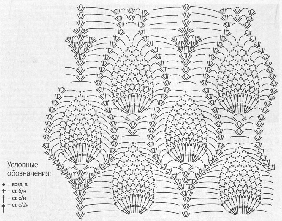 Узор Ананасы крючком: схема и описание uzor ananas kruchkom 3