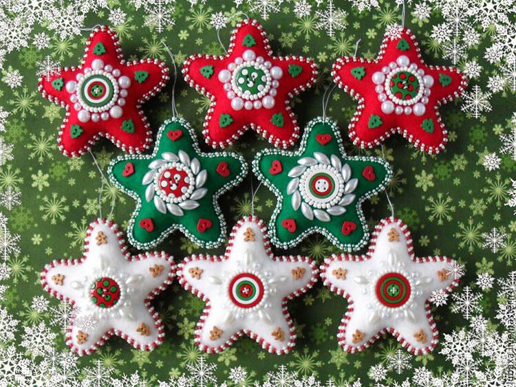Новогодние звездочки из фетра для украшения Елки 1 12