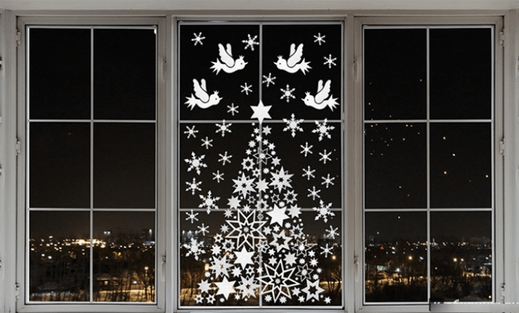 Украшаем окна к Новому году: шаблоны, советы 15 5