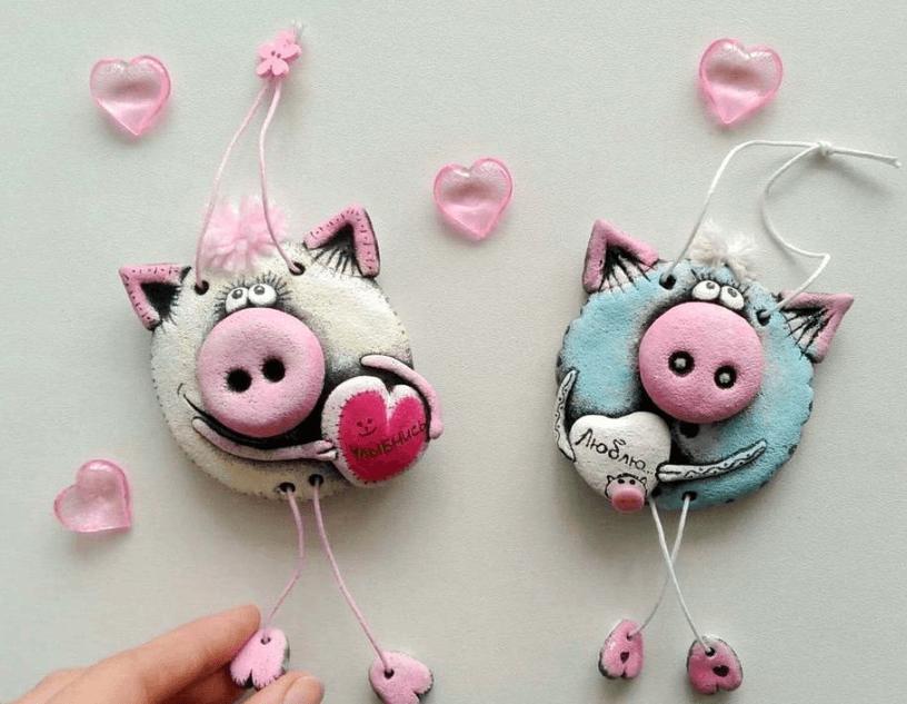 Поделка Свинья из соленого теста: оригинальный подарок на Новый год 2019 18