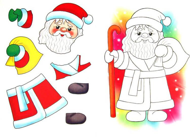 Детская поделка аппликация Дед мороз 2 1