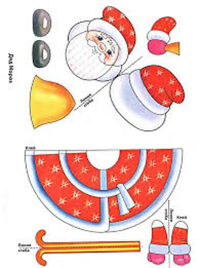 Детская поделка аппликация Дед мороз 3 4
