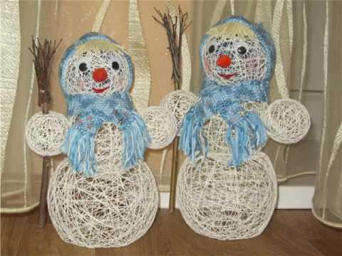 Снеговик из ниток: оригинальное украшение на Новый год 6 3