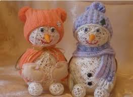 Снеговик из ниток: оригинальное украшение на Новый год 7 3
