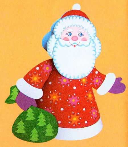 Дед мороз из бумаги: яркая аппликация для ребенка Kak sdelat ded moroza iz bumagi 2