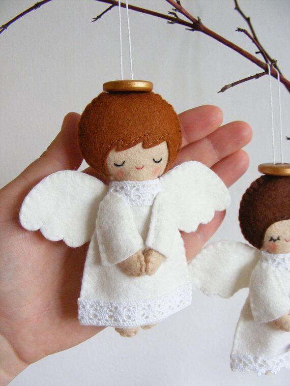 Ангелочек из фетра: новогодняя поделка на елку angel 12