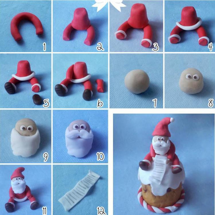 Лепим Деда Мороза на Новый год вместе с ребенком ded moroz iz plastilina 2