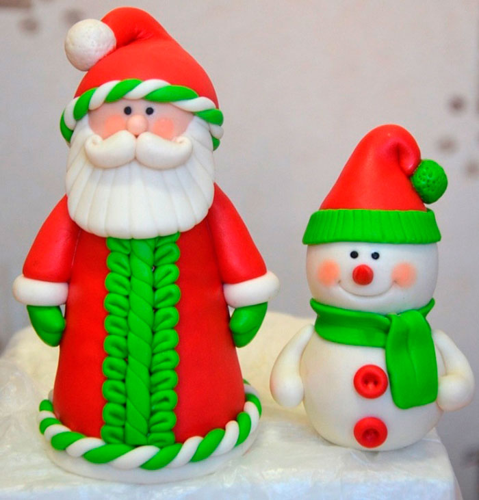 Лепим Деда Мороза на Новый год вместе с ребенком ded moroz iz plastilina 4