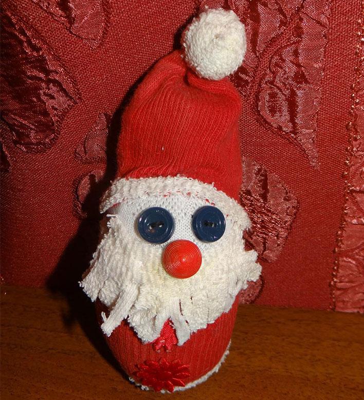 Дед Мороз из носка: готовимся к празднику заранее ded moroz iz noska 24