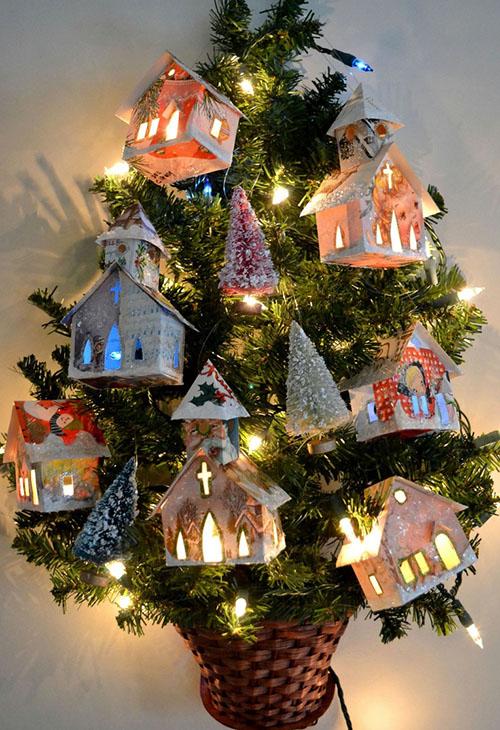 Создаем красивые домики из фетра на Новый год domik 1