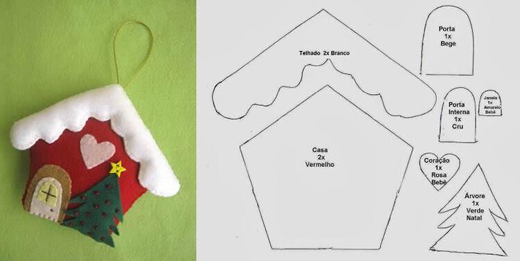 Создаем красивые домики из фетра на Новый год domik 24