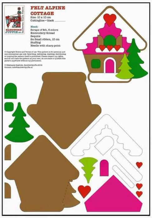 Создаем красивые домики из фетра на Новый год domik 26