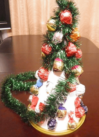 Елочка из мишуры на Новый год: различные способы создания elka iz mishury 17