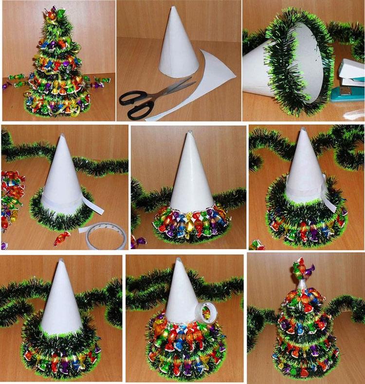 Елочка из мишуры на Новый год: различные способы создания elka iz mishury 19