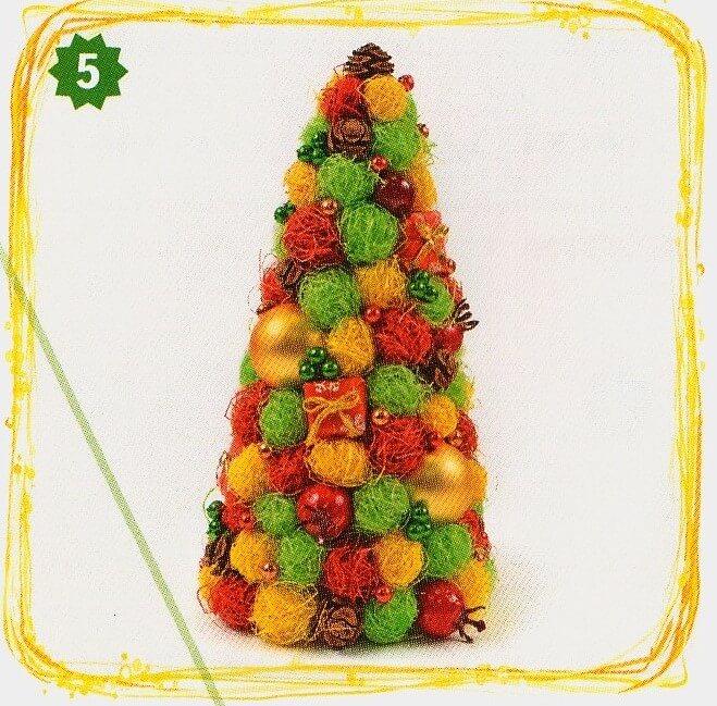 Красивая елка из сизаля на Новый год: мастер класс elka iz sizalya 9
