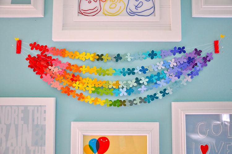 Гирлянда из цветной бумаги — красивая и простая поделка girlyanda iz cvetnoj bumagi 7