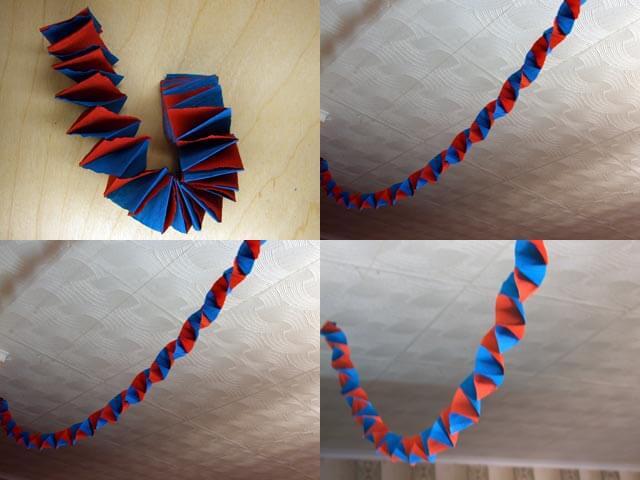Украшаем квартиру на Новый год: гирлянда из гофрированной бумаги girlyanda iz gofrirovannoj bumagi 8
