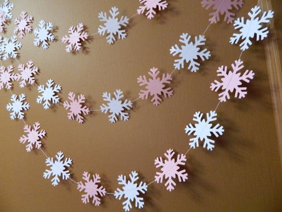 Снежинки гирлянды из бумаги: украшаем квартиру на Новый год girlyanda iz snezhinok 7