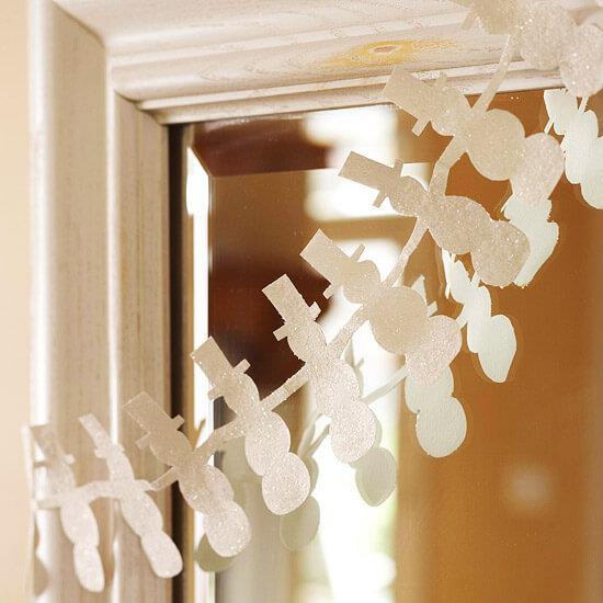 Гирлянда из бумажных снеговиков: готовимся к Новому году girlyanda snegovikov iz bumagi 1