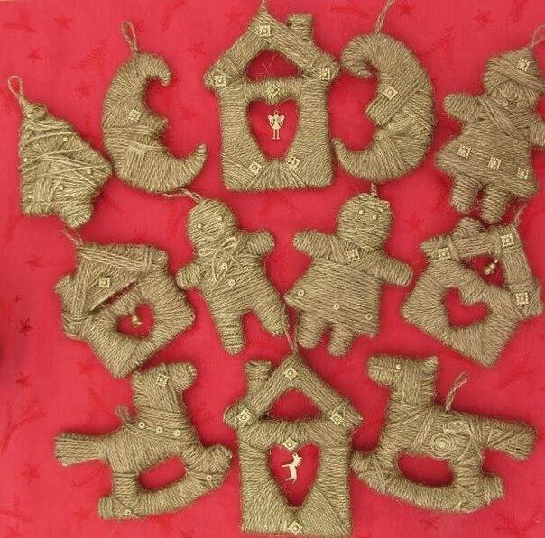 Игрушки из шпагата для украшения Елки igrushki iz shpagata 1