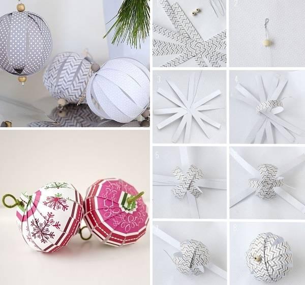 Поделки из цветной бумаги на Новый год novogodnie igrushki iz cvetnoj bumagi 3