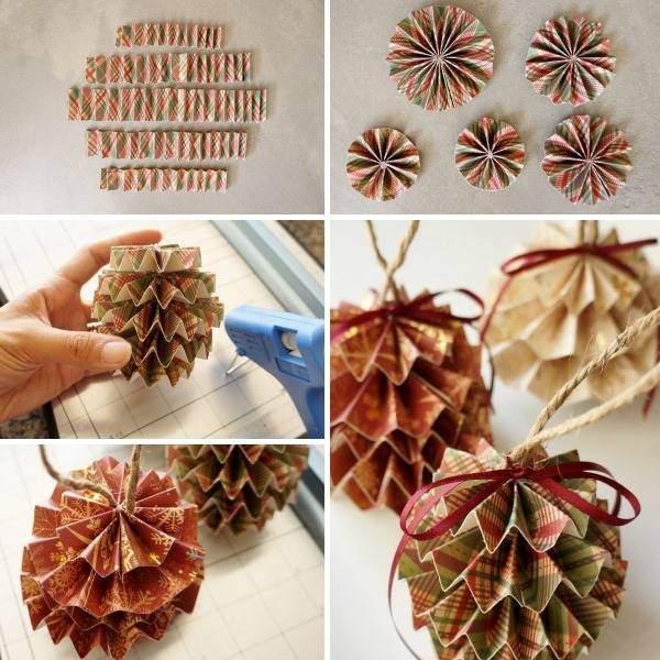 Поделки из цветной бумаги на Новый год novogodnie igrushki iz cvetnoj bumagi 4