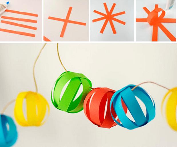 Объемная гирлянда из бумаги для украшения дома на Новый год obemnaya girlyanda iz bumagi 9