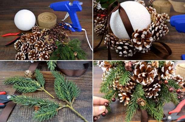 Подготовка к Новому году: поделки из шишек podelki iz shishek 35
