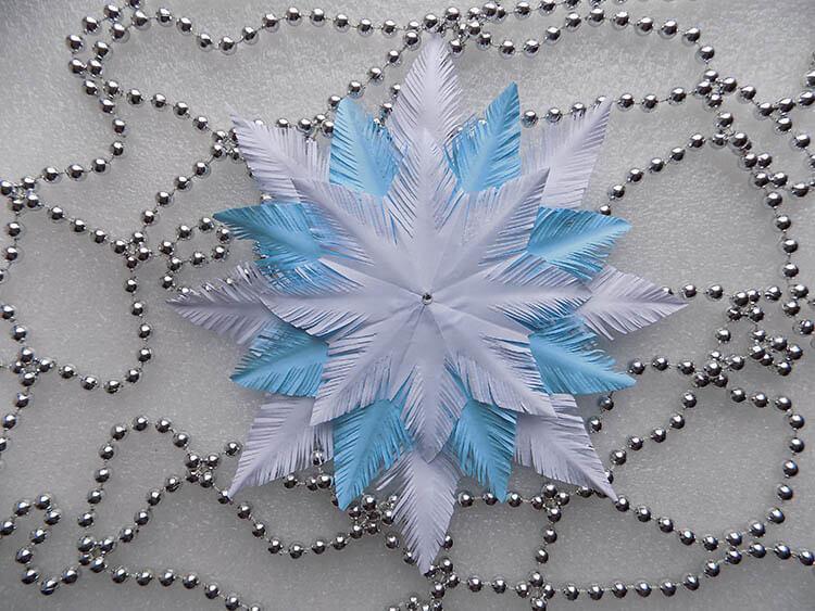 Пушистые снежинки своими руками   красивое украшение для Нового года pushistaya snezhinka 1